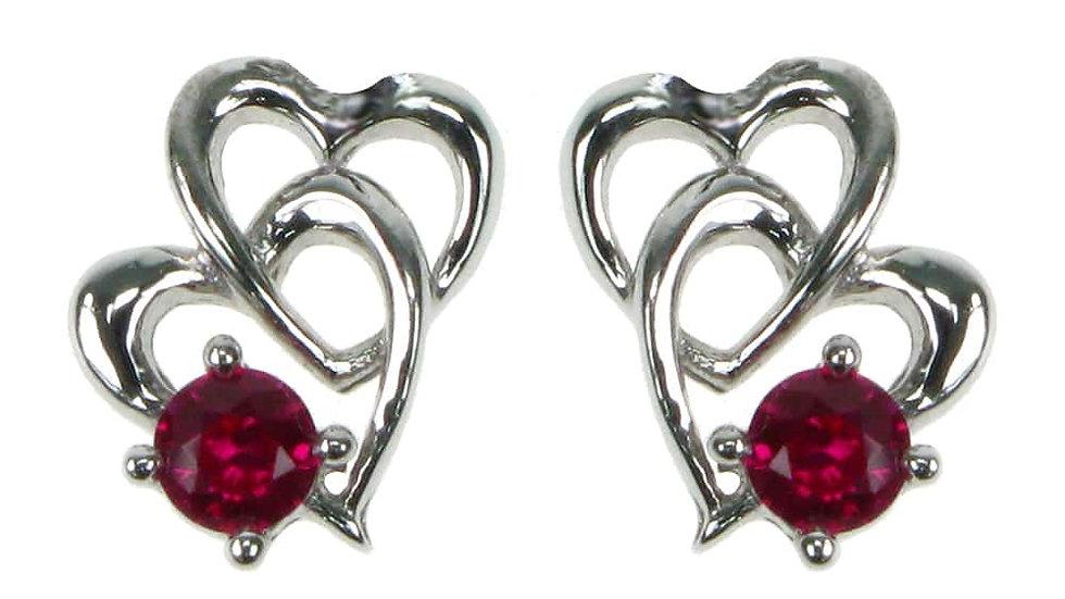 Silver Created Ruby Earrings