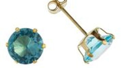 9ct Aqua cz 4mm Earrings