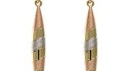 9ct 3col Gold Drop Earrings