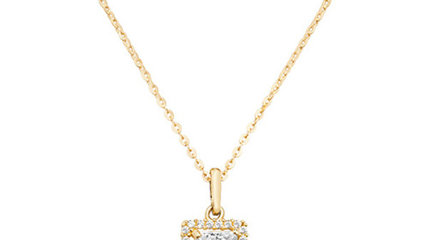 9ct cz Square Cluster Necklace