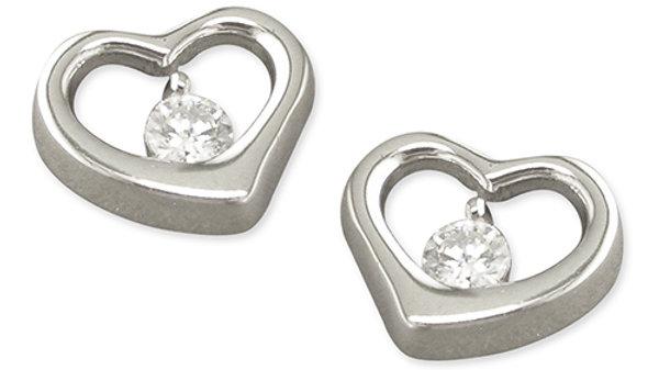 Silver cz Heart Earring