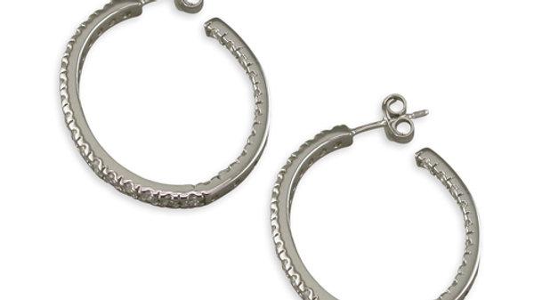 Silver cz-Rimmed Hoops