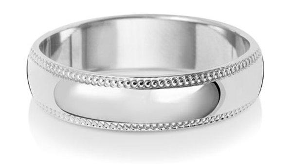 9ct w/g Gents  5mm Millgrain Wedding Ring