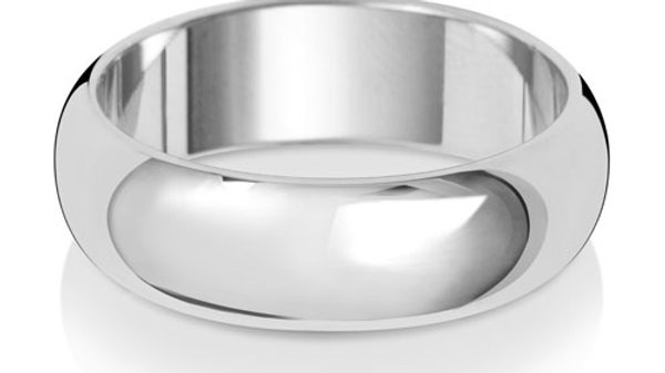 9ct w/g Gents  6mm Band