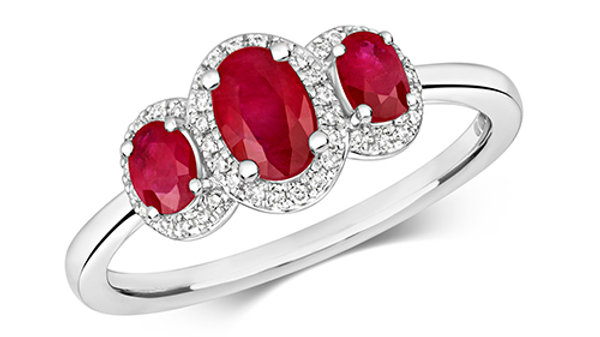 9ct White Gold Ruby Diamond Cluster Ring