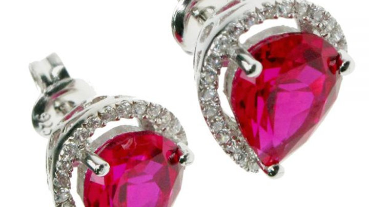 Silver Created Ruby Pear Earrings