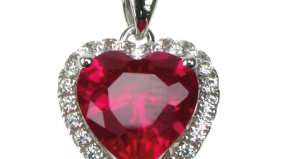 Silver Created Ruby Heart Cluster Pendant