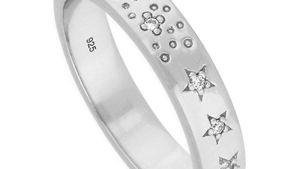 Silver  Cz Star Ring