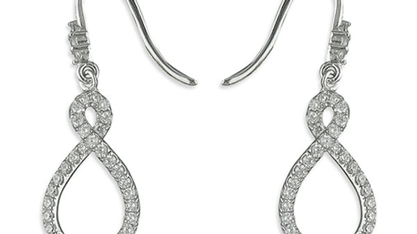 Silver cz Infinity Drop Earrings