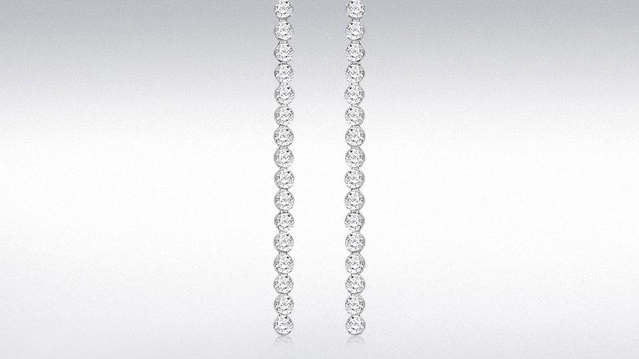 Silver Cz Drop Earrings