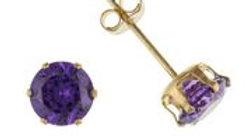 9ct cz Purple 4mm Earrings
