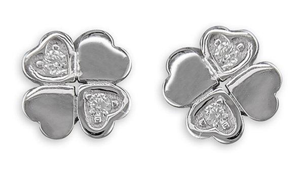 Silver Cz Clover Earrings
