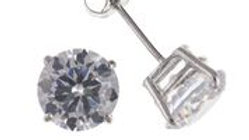 9ct White Gold Cz 6mm Earring