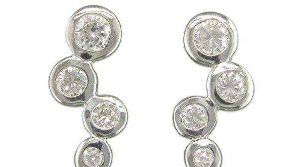 Silver Cz Bubble Earrings