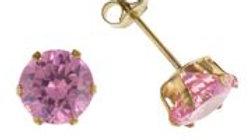 9ct Pink Cz 7mm Earrings