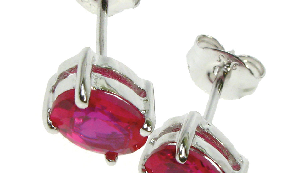 Silver Created Ruby Stud Earrings