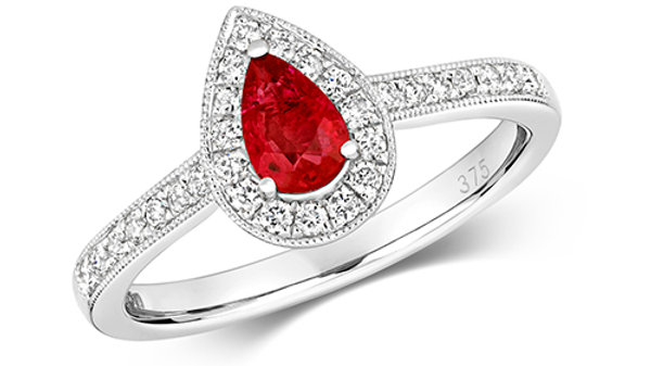 9ct Ruby /Diamond Ring