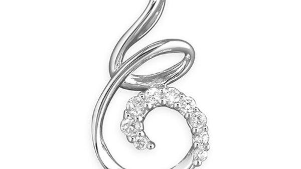 Silver Cz Swirl  Pendant/Chain