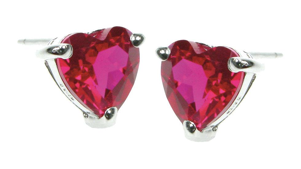 Silver Created  Ruby Heart Earrings