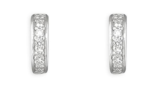 Silver cz Half Hoop Stud Earring