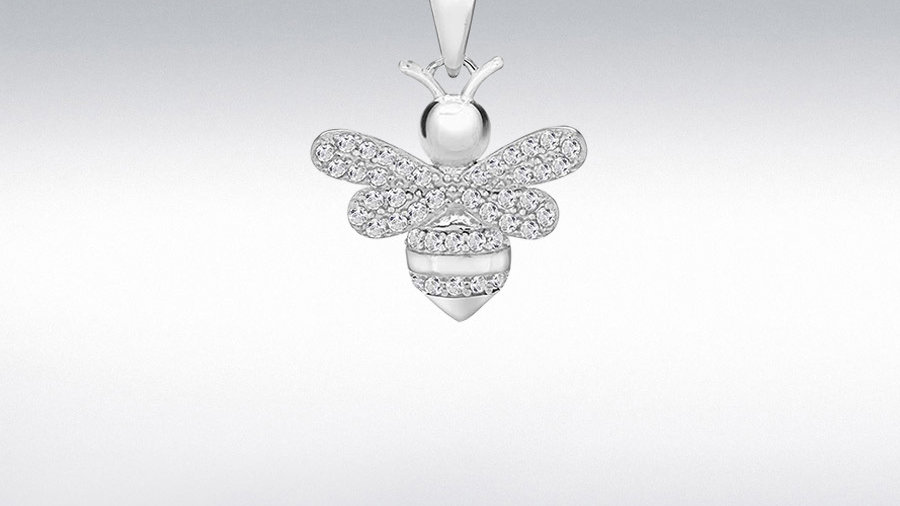 Silver Cz Bee Necklace