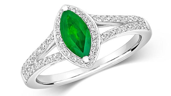 9ct Diamond & Emerald Ring