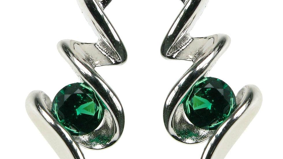 Silver Created Emerald  Earrings