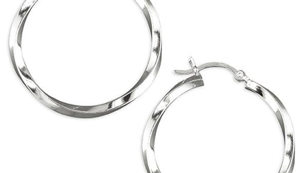 Silver Twist Hoop