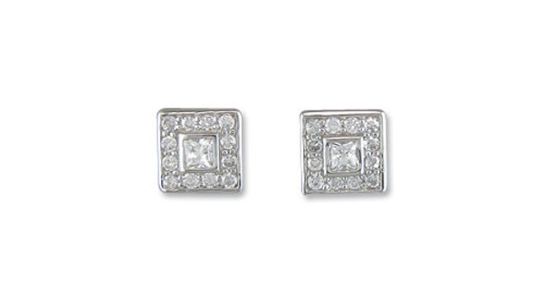 Silver cz Square Earrings