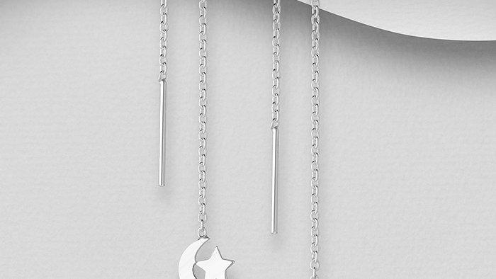 Silver Thread Through Earrings