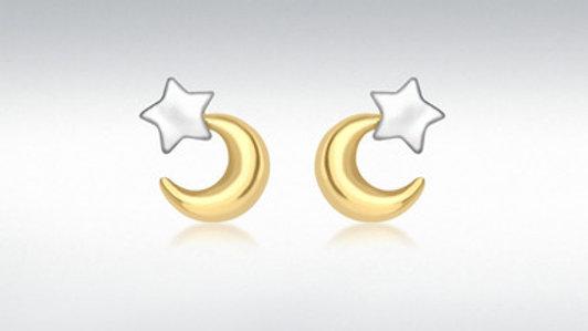9ct Moon&Star  Stud Earring