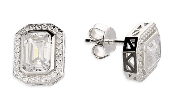 Silver Fancy Cz Earrings