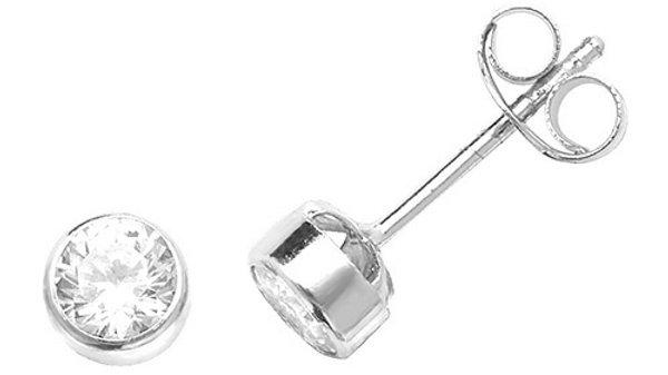 9ct White Gold Cz Earrings