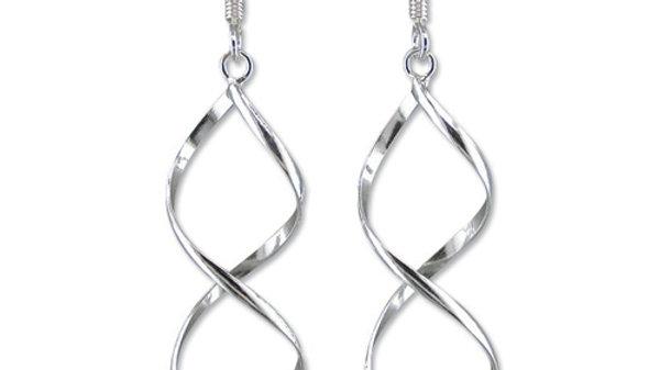 Silver Twist Drop Earrings