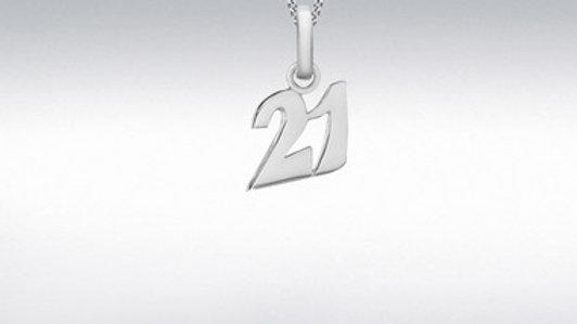silver 21st sml Pendant/Chain