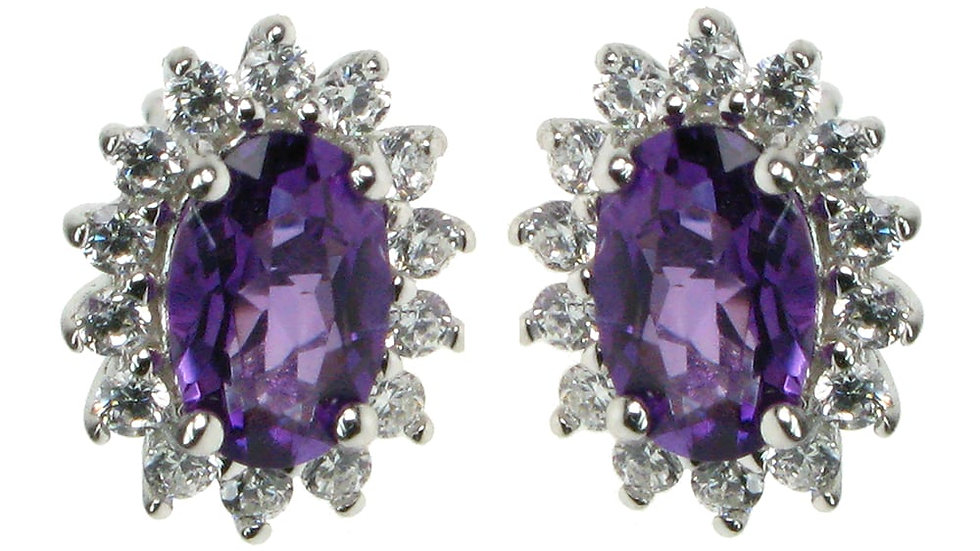 Silver Real Amethyst &Cz Cluster Earrings