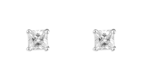 Silver Sq Cz Earrings