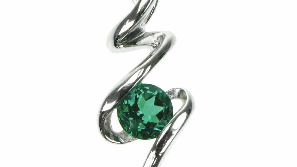 Silver Created Emerald Pendant