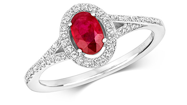 9ct w/g Ruby/Diamond RIng