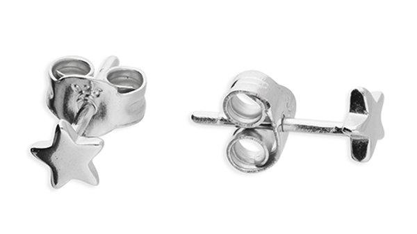 Silver Plain Star Earrings