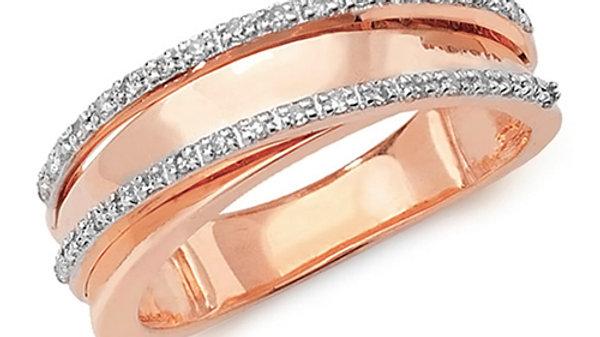 9ct Diamond Rose Gold Ring .15pt