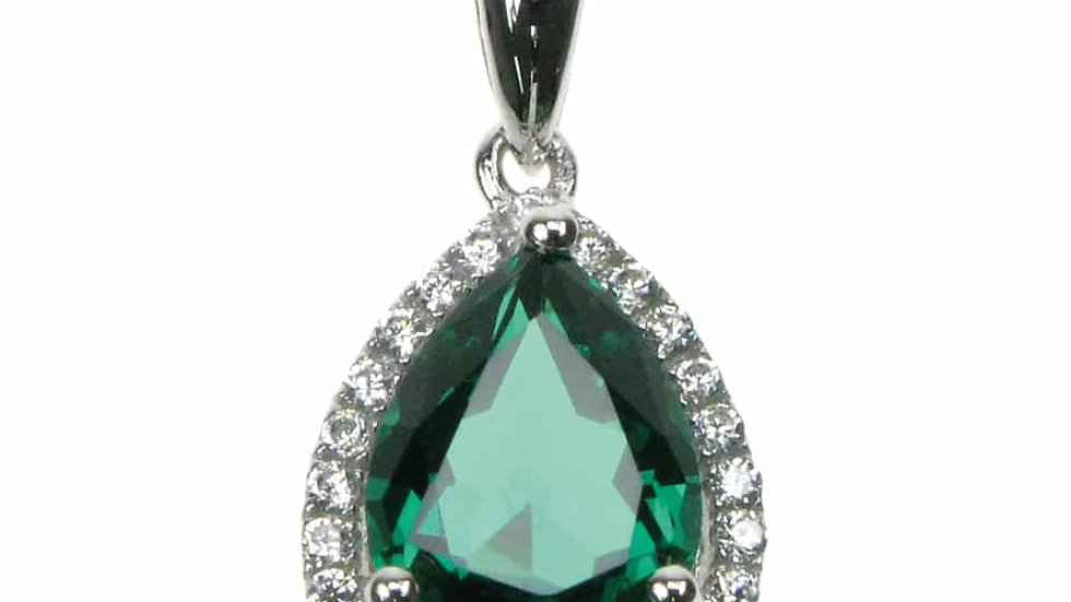 Silver Created Emerald Cz Cluster  Pendant