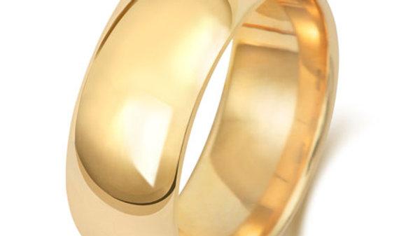 9ct 8mm  Gents Court Wedding Ring