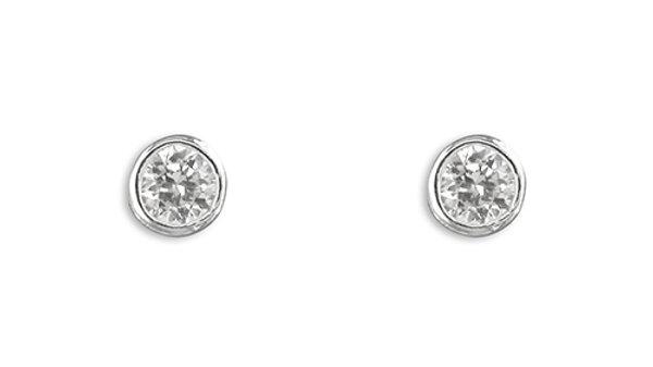 Silver cz Rubover Stud Earring