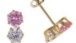 9ct pink/cz Double Earrings