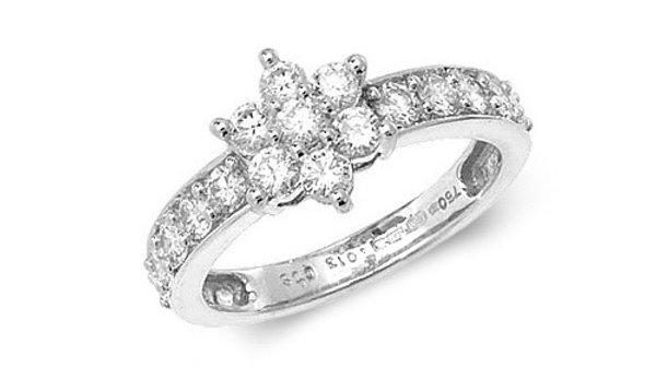 18ct W/G Diam Cluster Ring