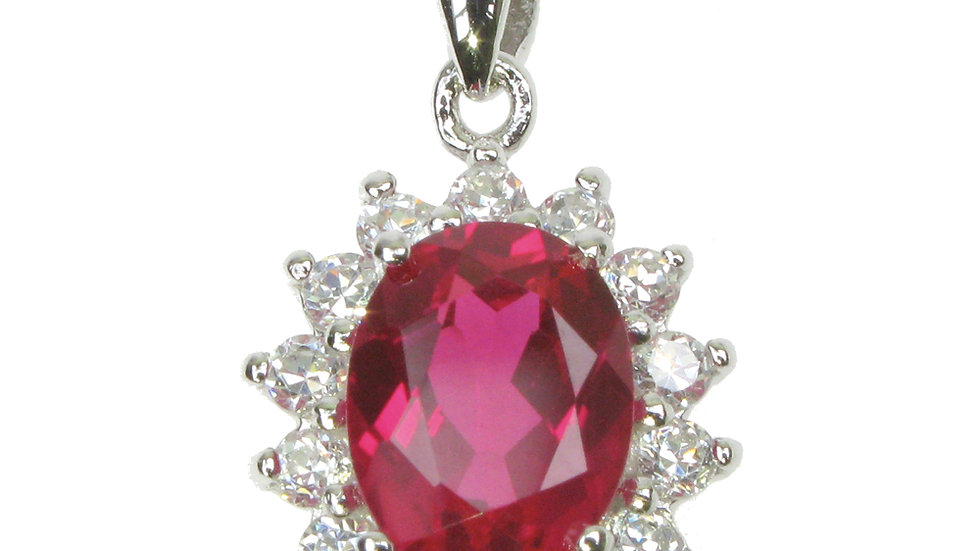 Silver Created Ruby Classic Cluster Pendant