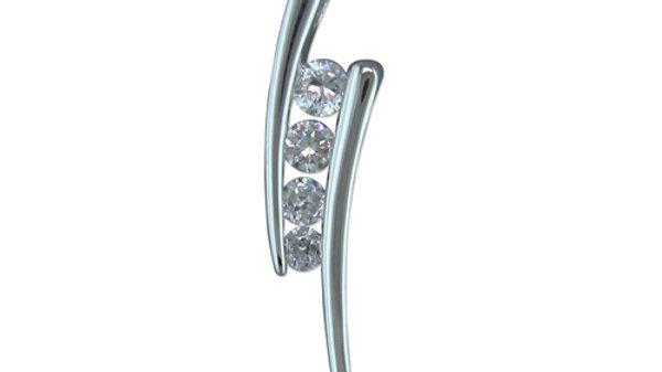 Silver Cz Modern Pendant /chain