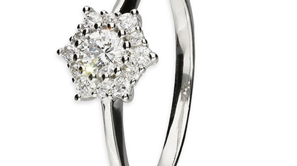 Silver and CZ Star Cluster Ring
