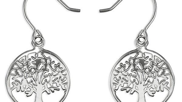 Silver Tree Of Life Drop Earrings